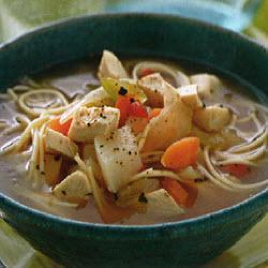 Country-style chicken soup with noodles