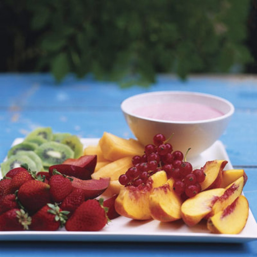 Fresh Fruit with Raspberry-Lime Dipping Sauce